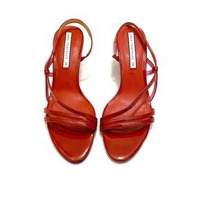 Zara Red Patent Leather Slingback Open Toe Sandal